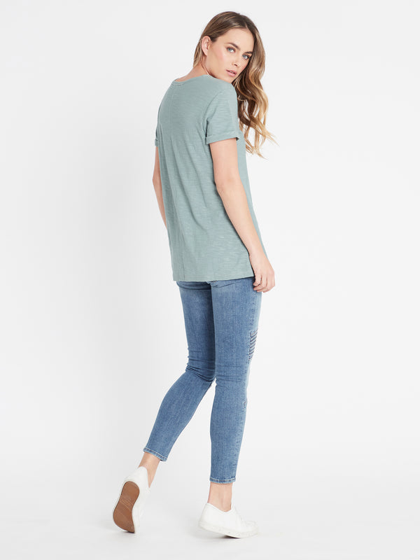 Evie Rolled Sleeve T-Shirt in Sea Grass - Mavi Jeans