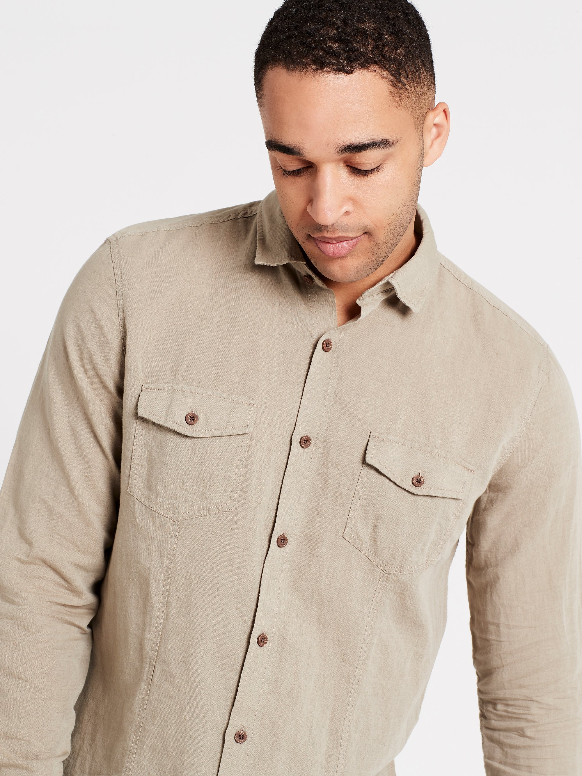 Mens Long Sleeve Shirt Vintage Khaki