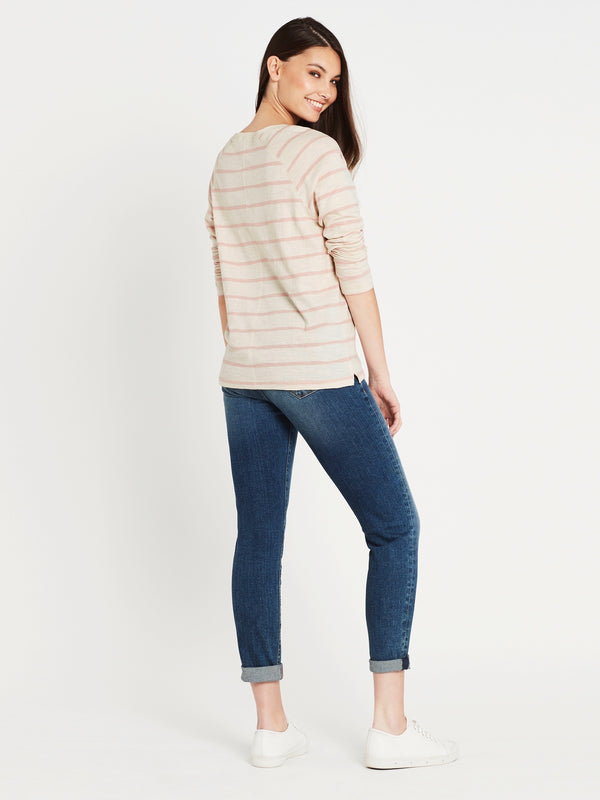 Sonya Long Sleeve T-Shirt Turtle Dove Rose Stripe - Mavi Jeans