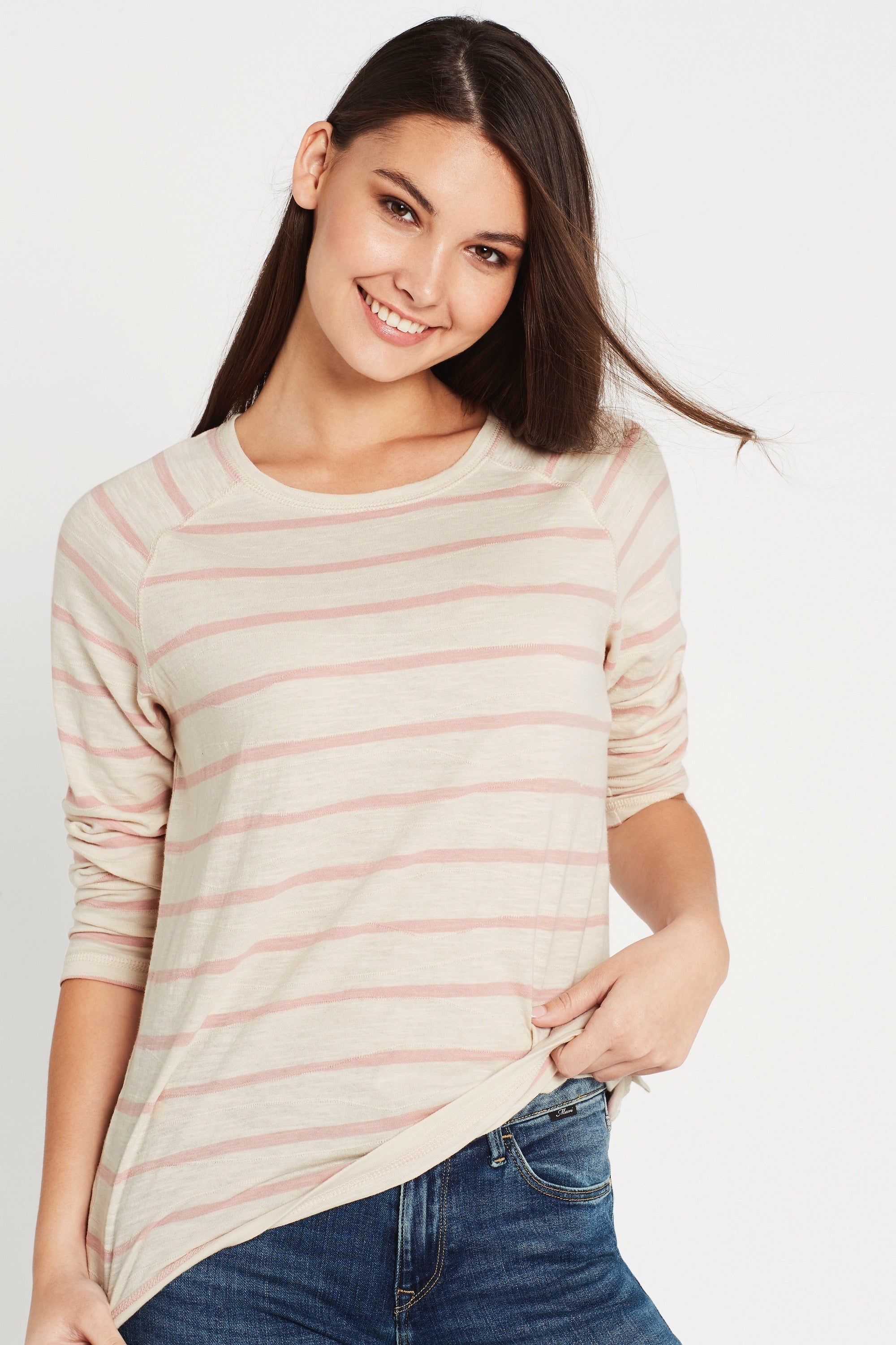 Sonya Long Sleeve T-Shirt Turtle Dove Rose Stripe