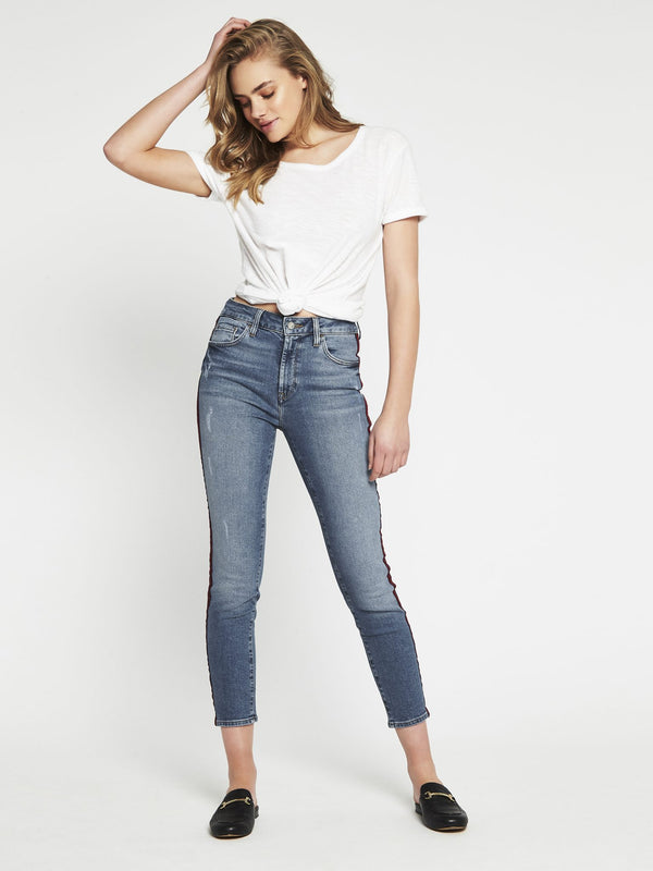 Tess High Rise Super Skinny Ankle Indigo Stripe Denim - Mavi Jeans