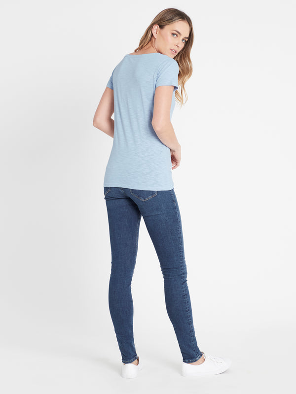 Womens V-Neck Short Sleeve T-Shirt Ice Blue - Mavi Jeans