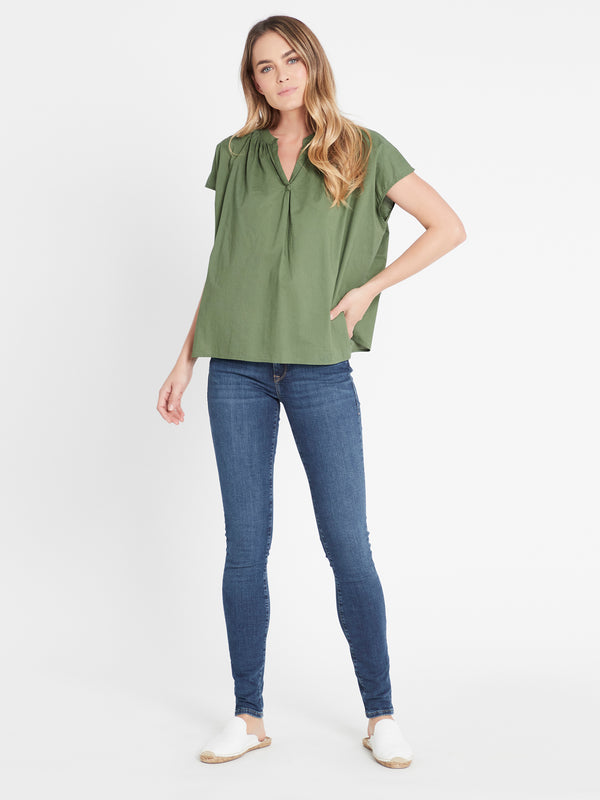 Sheridan Henley Swing Top in Green - Mavi Jeans