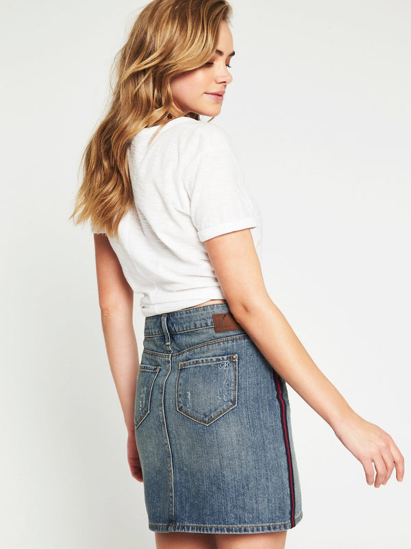 Alice Mid Rise A Line Skirt Denim Stripe - Mavi Jeans