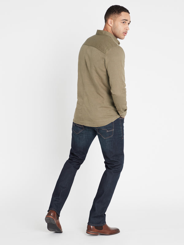Linen Long Sleeve Shirt in Khaki - Mavi Jeans