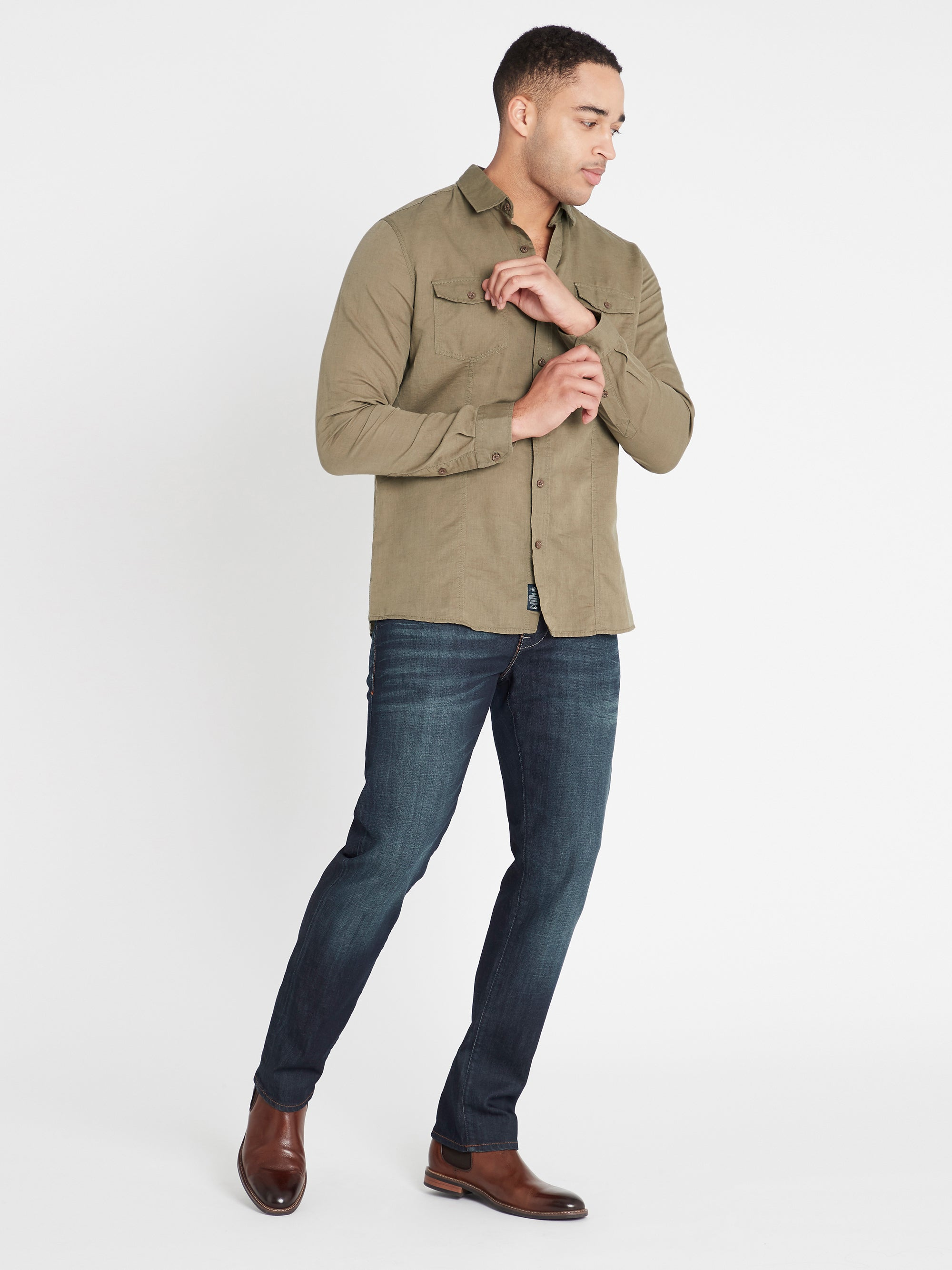 Linen Long Sleeve Shirt in Khaki