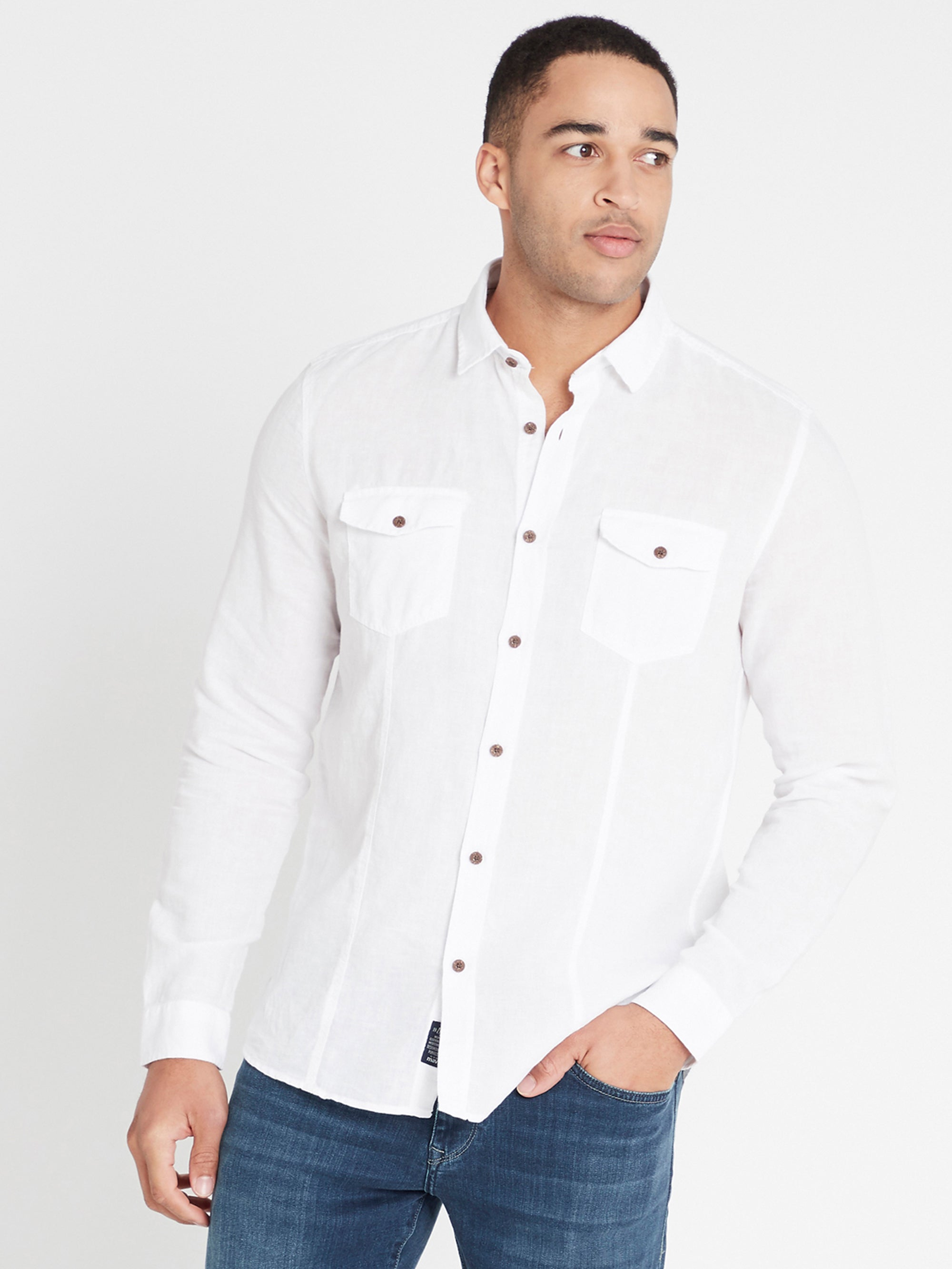 Mens Long Sleeve Shirt White