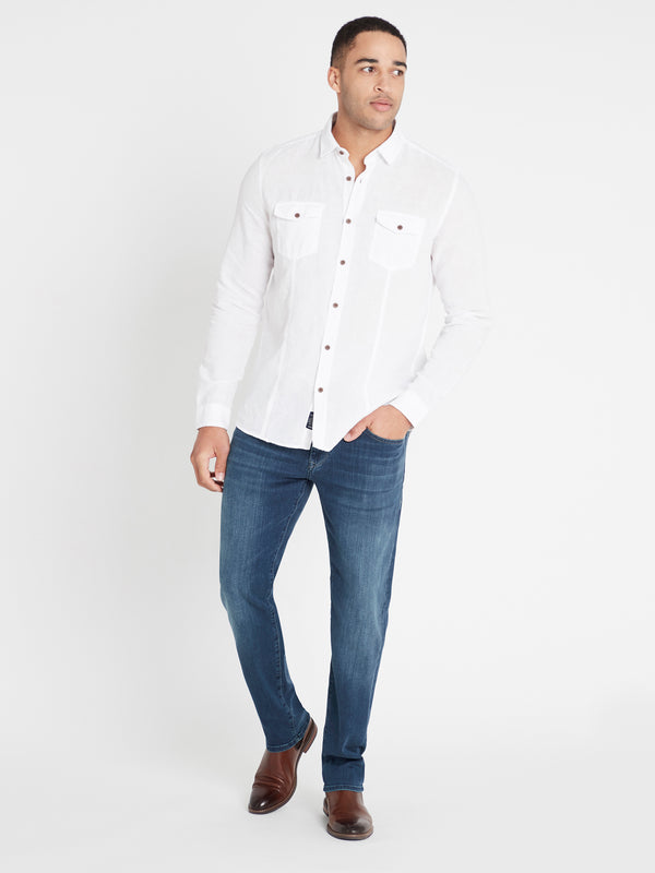 Linen Long Sleeve Shirt in White - Mavi Jeans