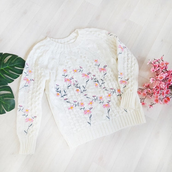 Beautiful Floral Embroidery Sweater
