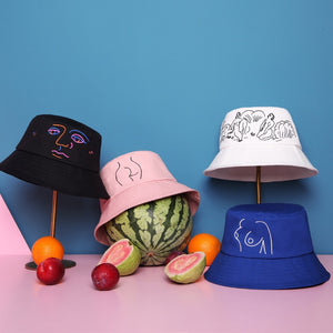 Cotton Unisex Embroidery Design Bucket Hats