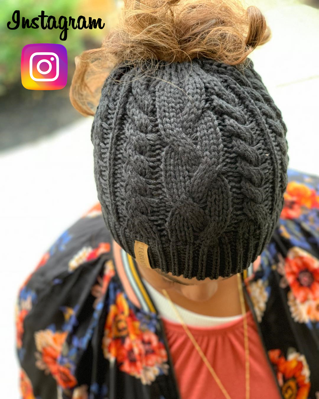 Winter Knitted Ponytail Women Hat