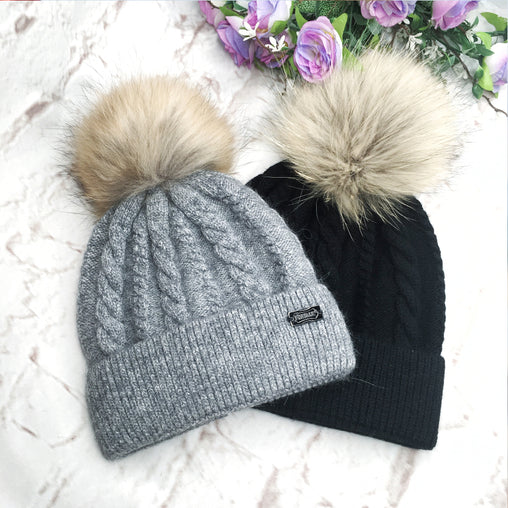 FURTALK Women Winter Real Fur Pom Pom Hat Twist Drop Shipping AD001