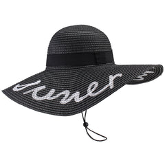 FURTALK Women Straw Wide Brim Beach Sun Hat Embroidered Drop Shipping SH042