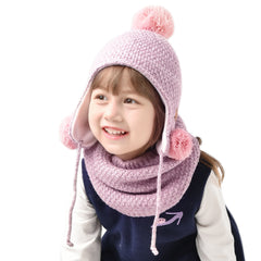 FURTALK Kids Winter Yarn Pom Pom Hat scarf Set Three Poms CH001