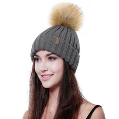 FURTALK Women Winter Faux Fur PomPom Hat Drop Shipping HTWL001