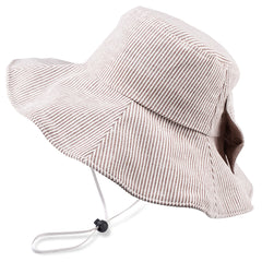 FURTALK Women Bucket Beach Hats Stripes Bow Drop Shipping  SH007