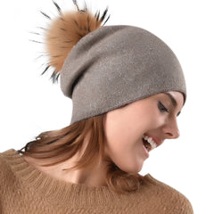 FURTALK Women Winter Real Fur Slouchy Pompom Hat Drop Shipping  AD011