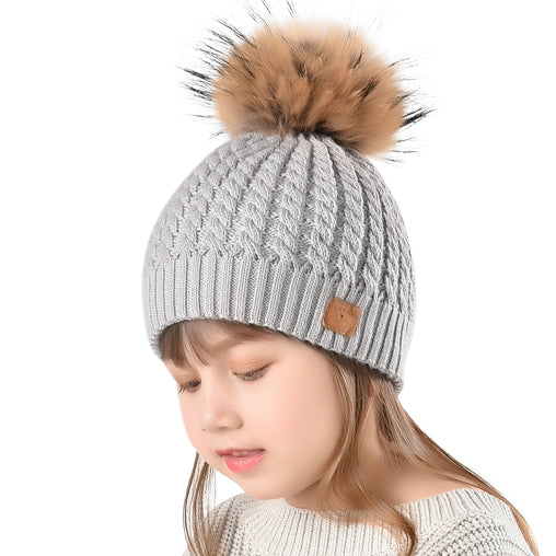 FURTALK Child Winter Real Fur PomPom Hat   Drop Shipping CH004