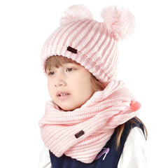 FURTALK Winter Kids Bobble Yarn Pom Hat and Scarf Set Drop Shipping HTWL082
