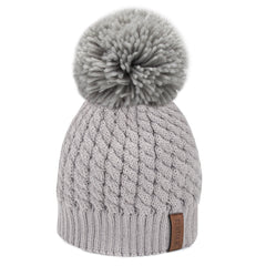 FURTALK Women Yarn Fur Pom Pom Hat Drop Shipping HTWL003