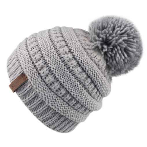 FURTALK Winter Kids Yarn Pom Pom Hat Double Layer Drop Shipping HTWL097