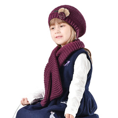 FURTALK Kids Winter Beret Hat Scarf Set with Small Poms Drop Shipping CH006