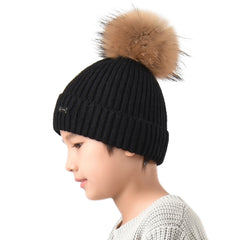 FURTALK Kids Winter Real Fur Fur Pom Pom Hat  Drop Shipping A051