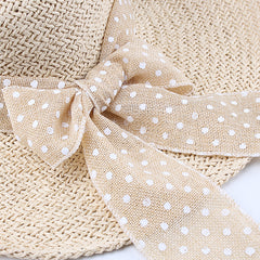 FURTALK Women Summer Wide Brim Straw Sun Hat  Spotted Bow Drop Shipping  SH005
