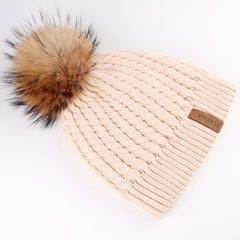 FURTALK Women Winter Real Fur Pom Pom Hat Twist Drop Shipping HTWL003