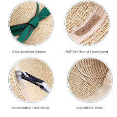 FURTALK Women  Summer Paper Straw Sun Hat Beach Hat with Ribbon Drop Shipping  SH039