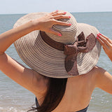 FURTALK Women Wide Brim Straw Sun Beach Hat Circle Stripe  Drop Shipping  SH009