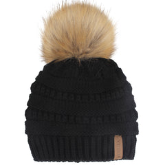 FURTALK Winter Kids Faux Fur Pom Pom Hat Double Layer Drop Shipping HTWL097