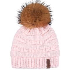FURTALK Winter Kids Real Fur Pom Pom Hat Double Layer Drop Shipping HTWL097