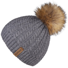 FURTALK Winter Women Faux Fur PomPom Hat Twist Drop Shipping HTWL003