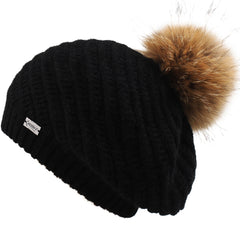 FURTALK Winter Women BeretReal Fur Pom Pom Hat Drop shipping HTWL063