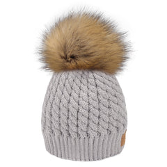 FURTALK Winter Kids Faux Fur Pom Pom Hat  Drop Shipping  CH014