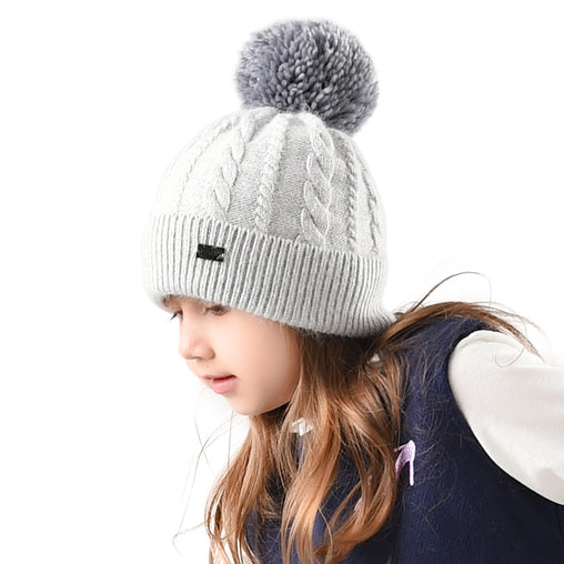FURTALK Kids Winter Yarn Pom Pom Hat Twist Pattern  Drop Shipping CH004