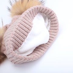 FURTALK Kids Winter Real  Fur Daul Bobble Hat Double Layer  Drop Shipping CH020