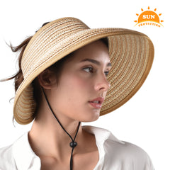 FURTALK Women Sun Visor Wide Brim Ponytail Straw Hat Drop Shipping SH054