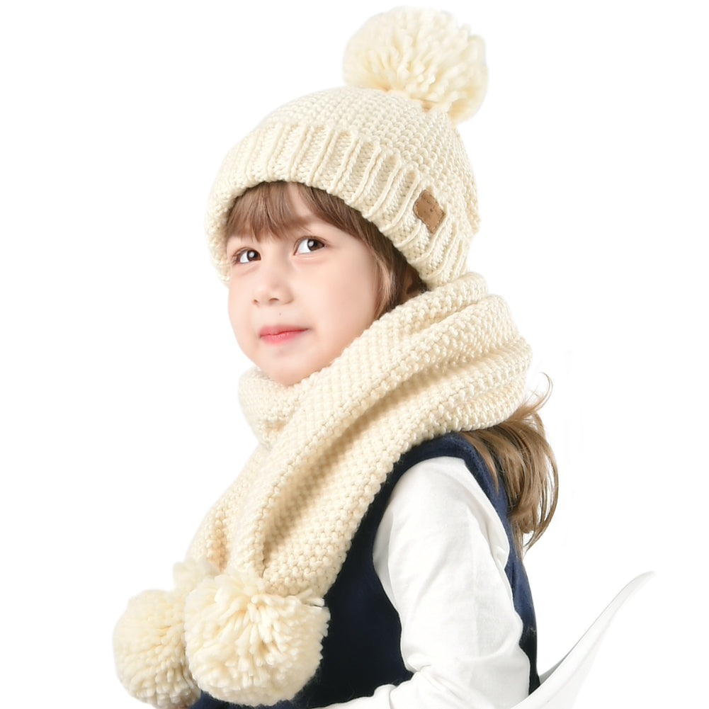 FURTALK Yarn Pom Pom Hat Scarf Set for Kids Drop Shipping CH002