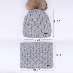 FURTALK Kids Winter Real Fur Pom Pom Hat Scarf Set Diamond pattern Drop Shipping SFFW032