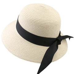 FURTALK Women Summer Straw Beach Sun Hat Wide Ribbon  Drop Shipping SH020