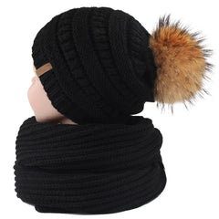 FURTALK Child Winter Real Fur PomPom Hat Scarf Set  Drop Shipping CH011