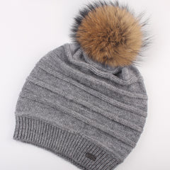 FURTALK Women Winter Sloughy Real Fur Pompom Hat  Drop Shipping AD006