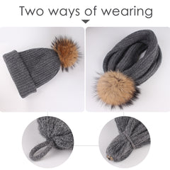 FURTALK Winter Women Real Fur Pom Pom  Hat and ScarfDrop Shipping AD003