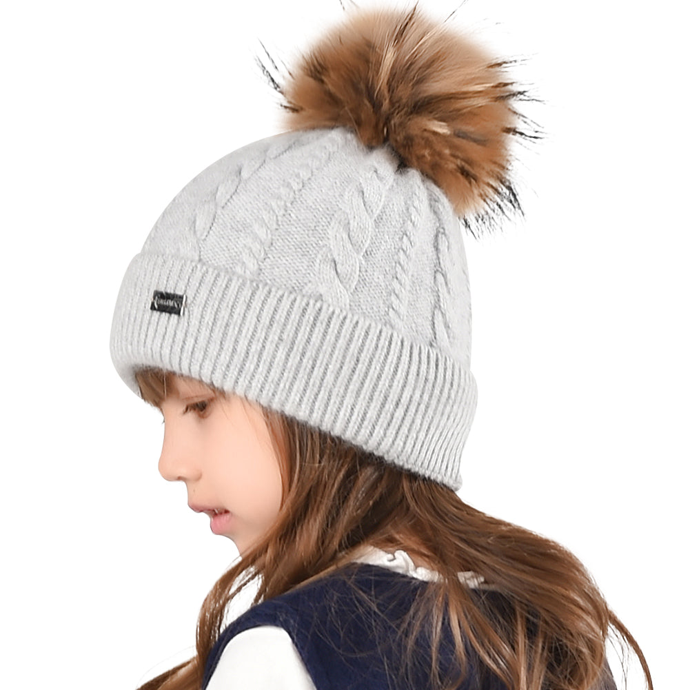 FURTALK Winter child Real Fur Pom Pom Hat Twist Drop Shipping CH004