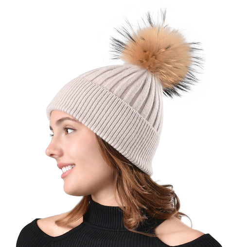 FURTALK Women Winter Real Fur Pom Pom Hat  Drop Shipping  A052