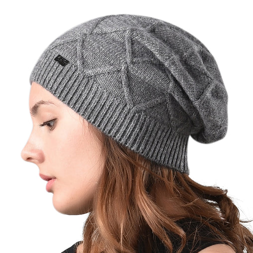 FURTALK Women Winter Slouchy Beanies Hat Diamond Pattern Customize AD015