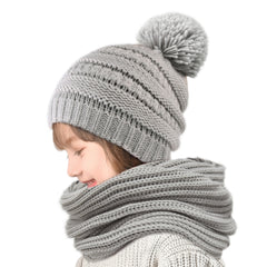 FURTALK Kida Winter Yarn Pompom Hat Scarf Set Drop Shipping CH012