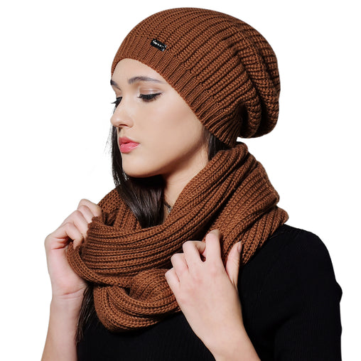 FURTALK  Women Winter Knitted slouchy Hat Scarf Set  Drop Shipping HTWL080